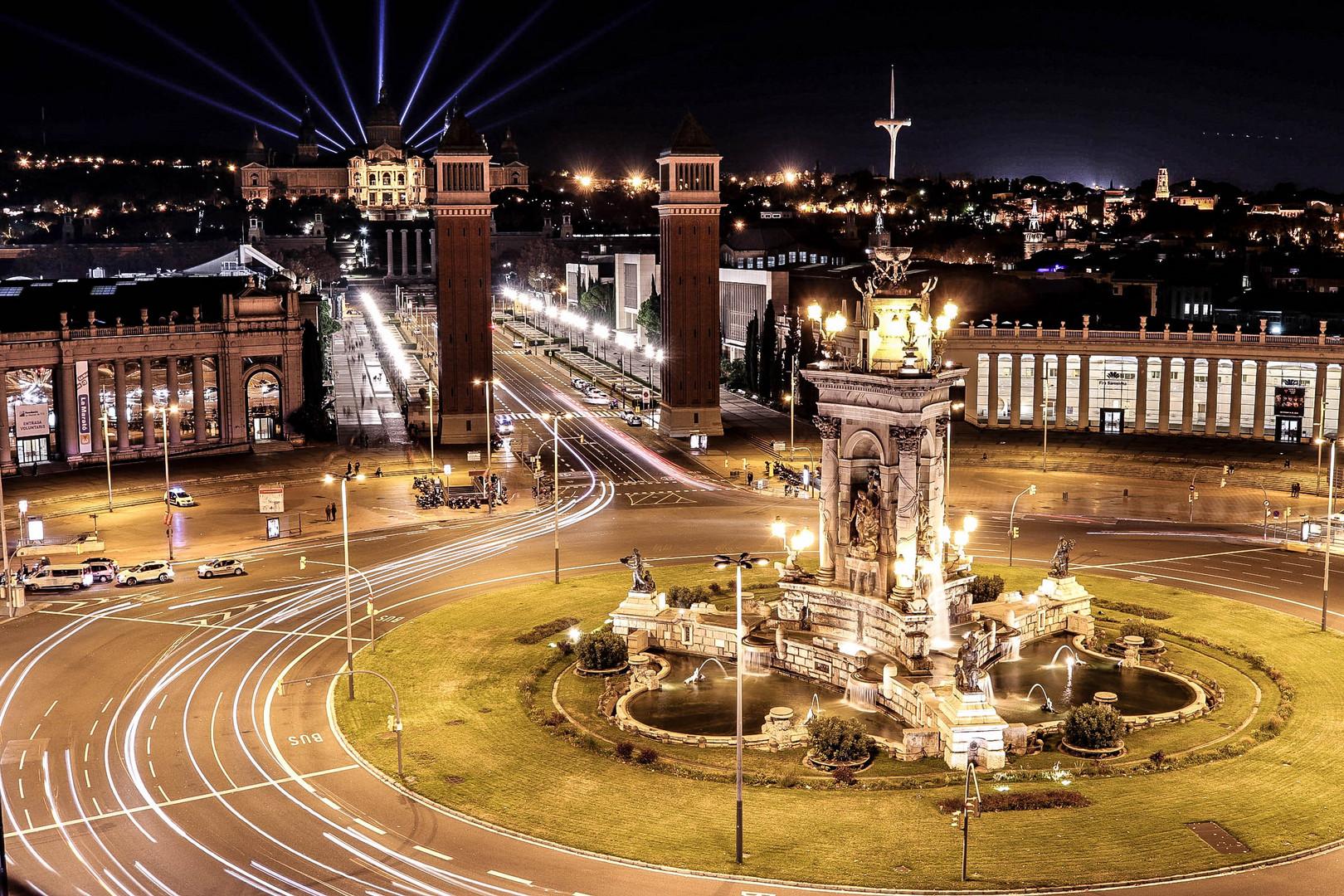 Plaza españa, Barcelona. Larga Exposición
