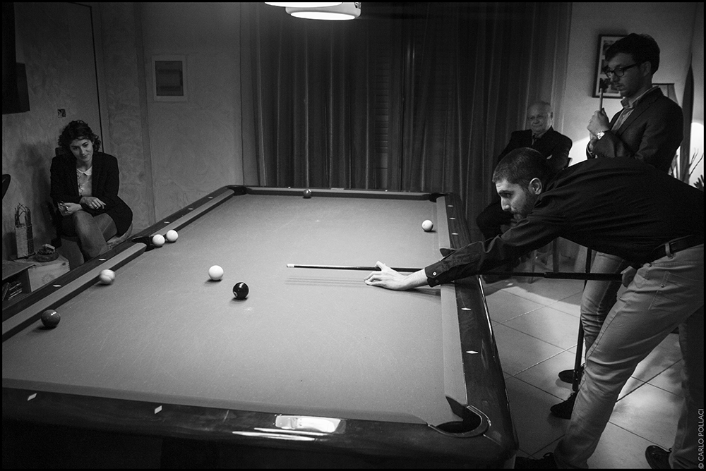 Pleasant evening, playing pool