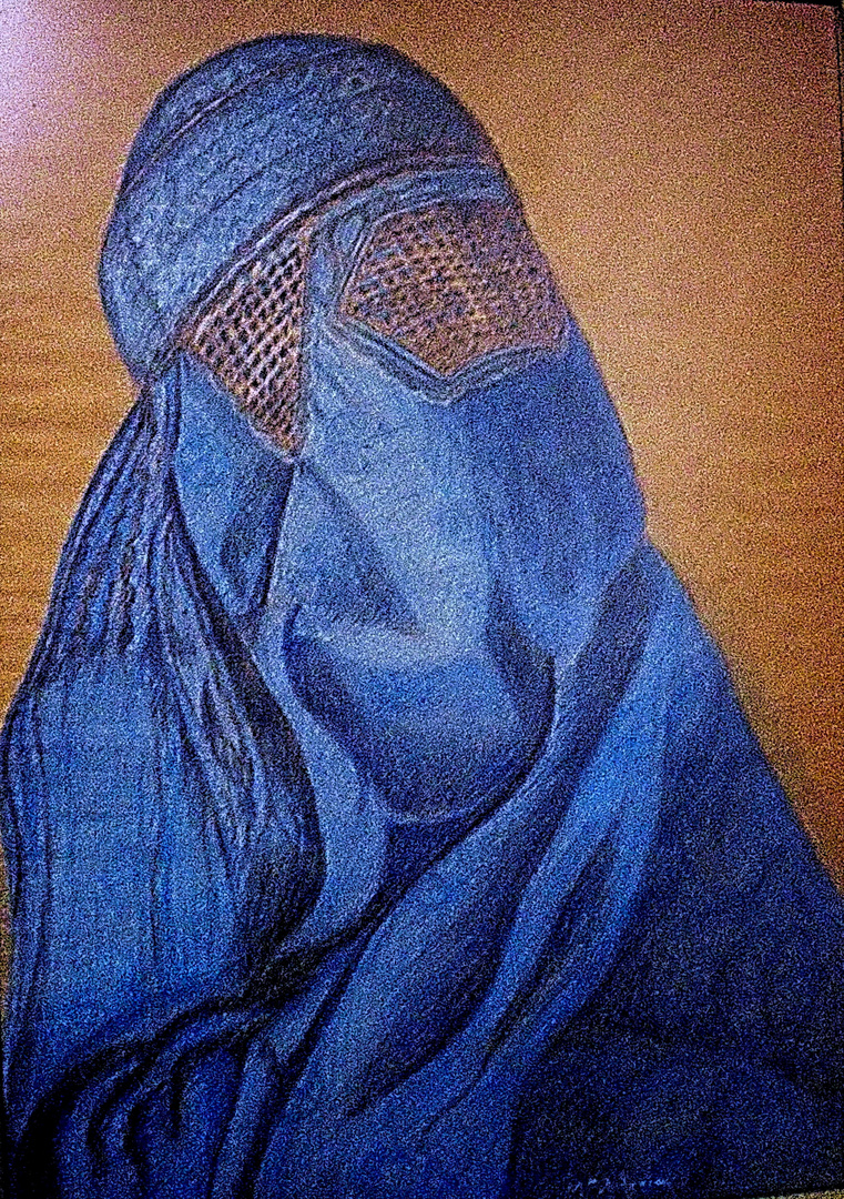 """ Poesía bajo los Burka"". Dibujo realizado por Mª Antonia Rubio Maeso."