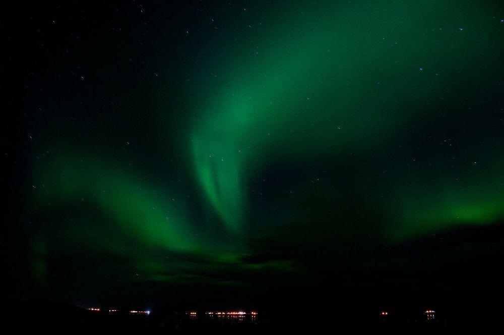 Polarlicht über Borganes (64°32' N)