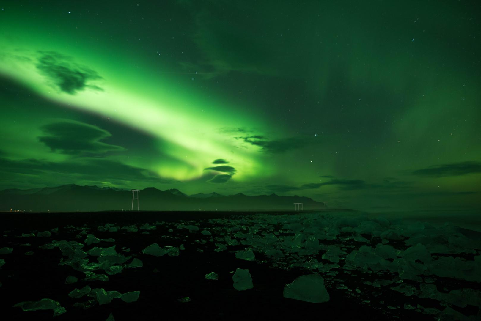 Polarlichter am Jökulsarlon Ice Beach 4