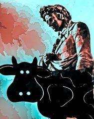 Poor poet Friedrich Schiller as a cow-boy ... Seen at christmasmarket Stuttgart, Germany