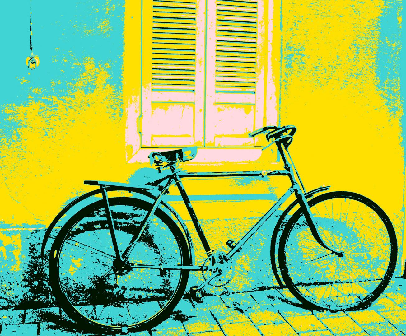 popart fahrrad foto bild stillleben zuf llige arrangements fahrrad an der wand bilder auf. Black Bedroom Furniture Sets. Home Design Ideas