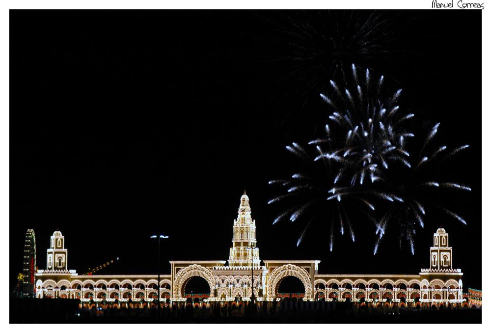 Portada de Feria (Córdoba) y fuegos artificiales