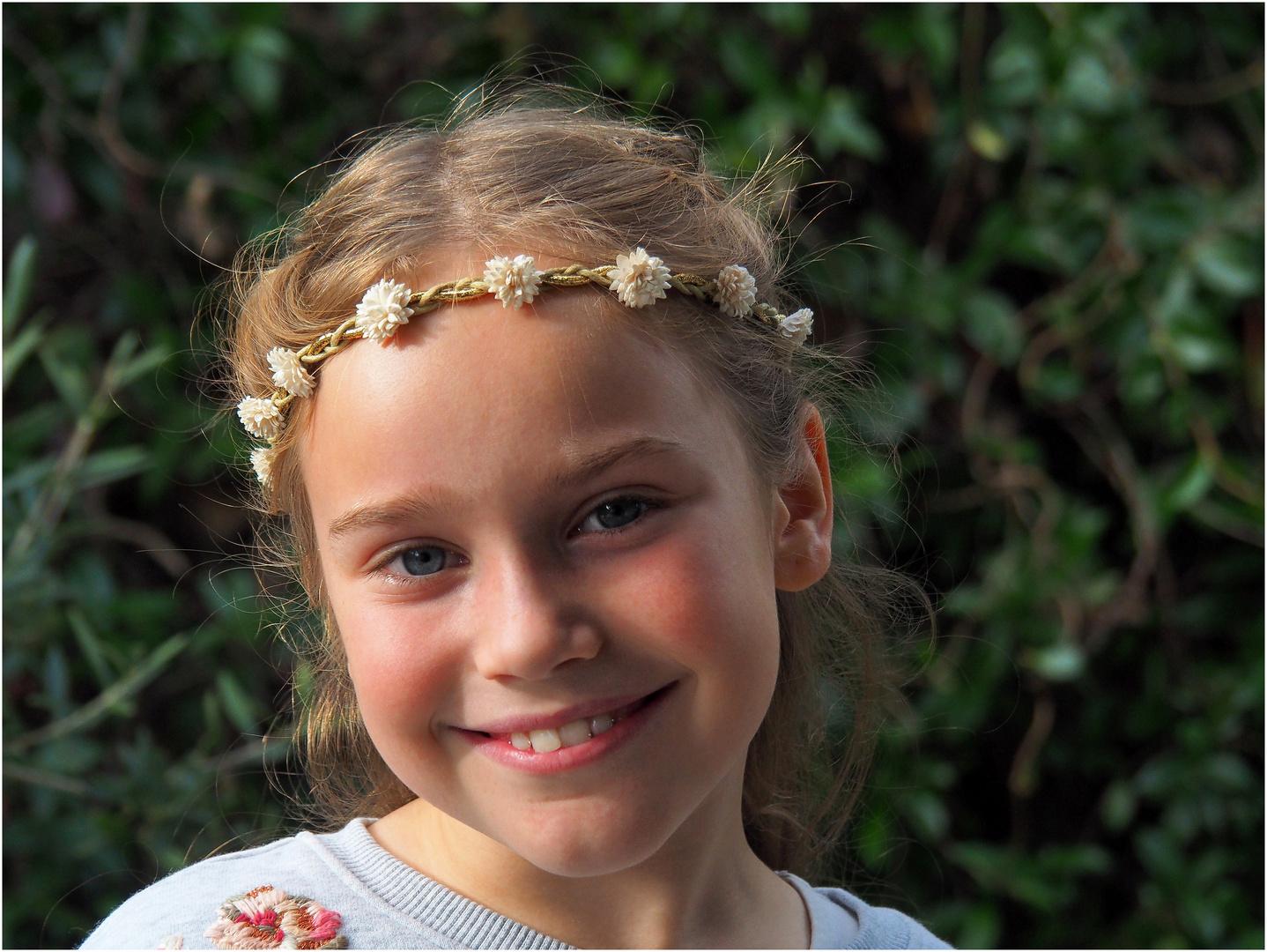 Portrait à la couronne de fleurs