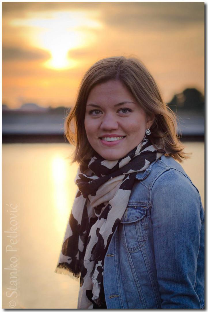 Portrait against the sun in the harbor
