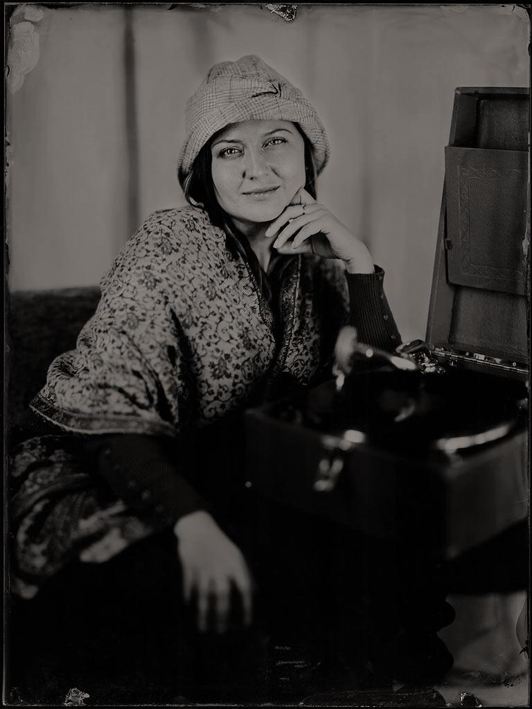 Portrait mit Grammophon