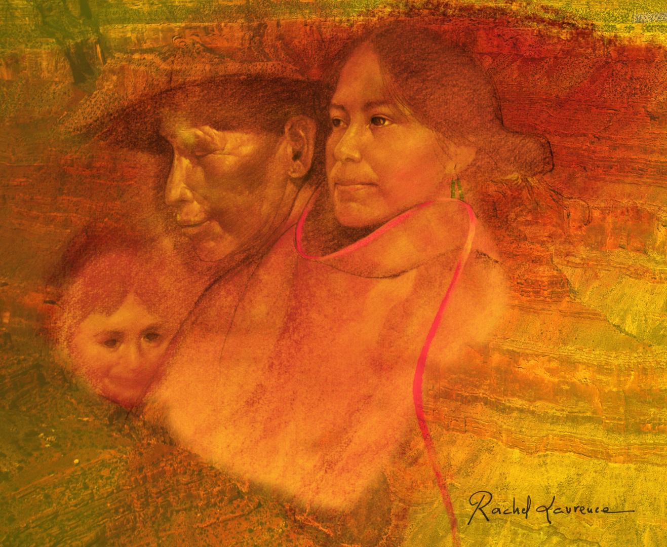 Portrait peint par un Navajo que j'ai fusionné avec une photo du grand canyon
