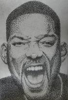 Portrait von Will Smith. Bestehend aus ca 180.000 Bleistiftpunkten