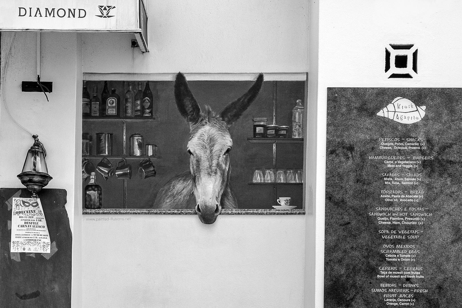 Portugal, Alentejo, Praia de Odeceixe, Imbiss Angebot vom Esel
