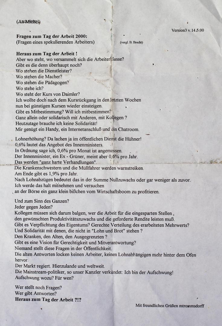 PP TEXT 1Mai2000/2015 Tag der Arbeit FRAGEN Zukunft