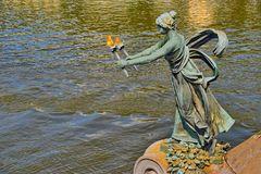 PRAG   - Jugendstil-Statue Svatopluk Cech Brücke -