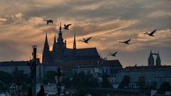 Prager Burg im Abendlicht