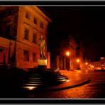 Prague&Hradcany after dark with sculpture of T.G.Masaryk