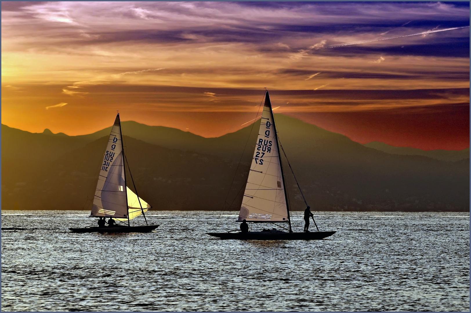prendre un bol  d air  frais en mer....au soleil couchant !