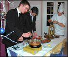 Préparation du canard à la rouennaise, presse à canard réplique de celle du titanic