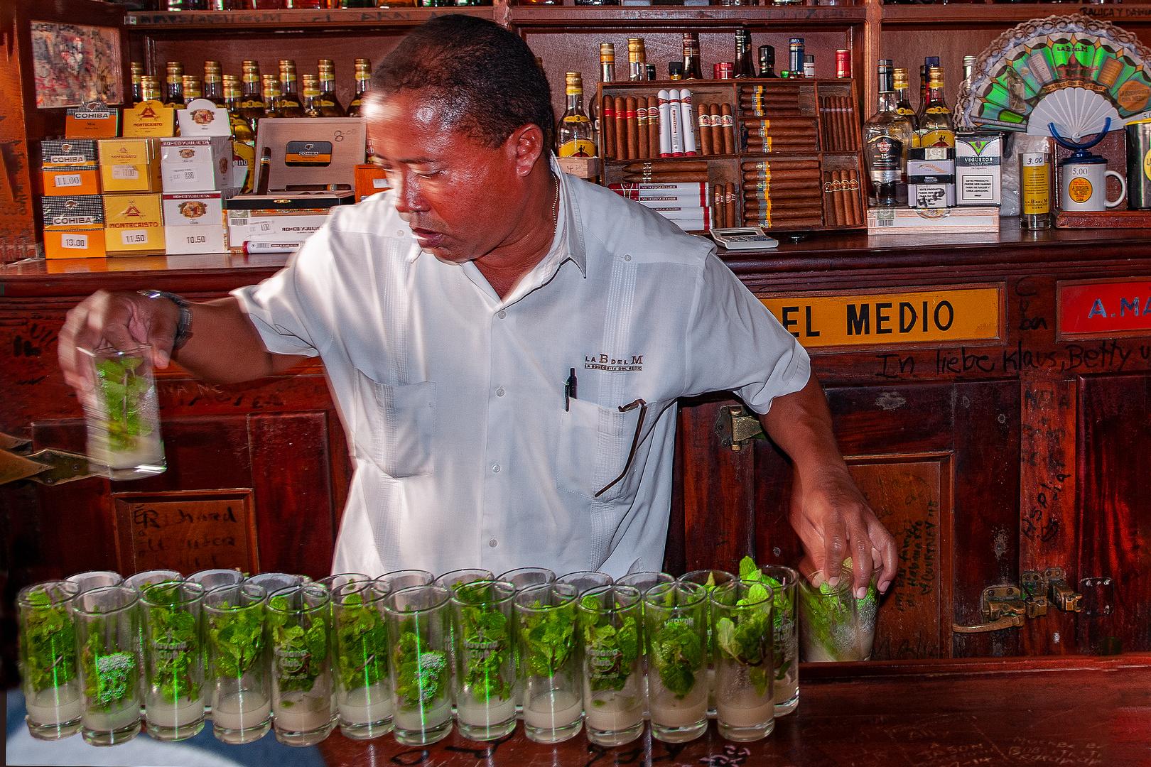 Preparing real Mojito in Old Havana