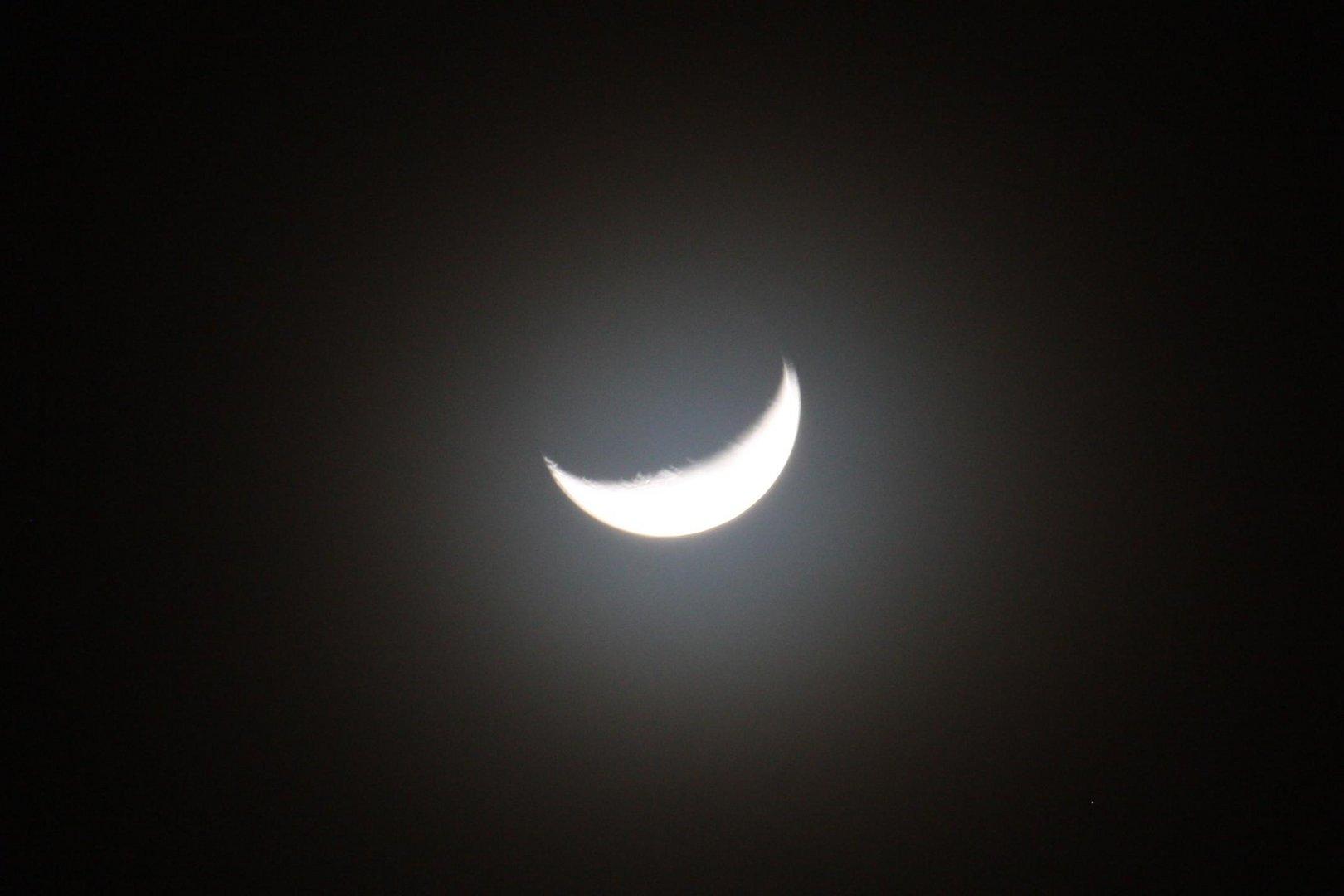 primo quarto di luna con alone