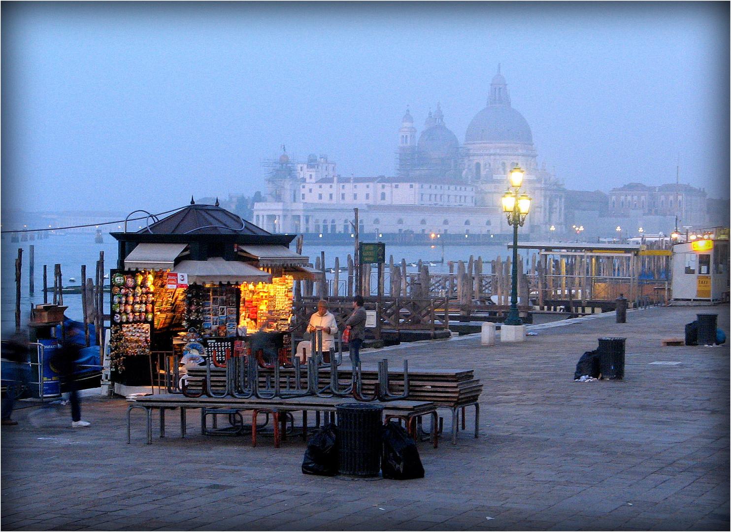 Promenade nocturne dans Venise .