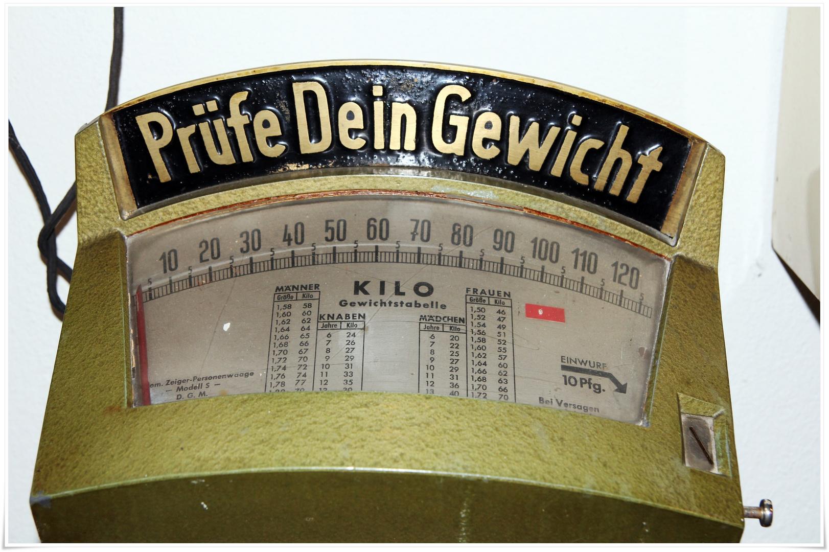 Prüfe dein Gewicht