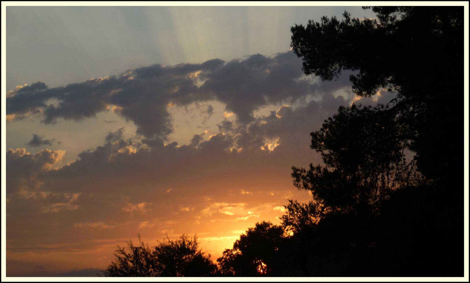 puesta de sol entre la naturaleza