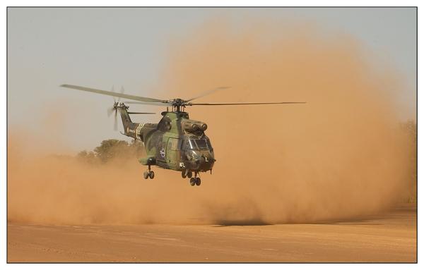 Puma bei Start in Birao Airfield