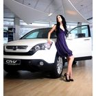 Purple Eva and the white Honda