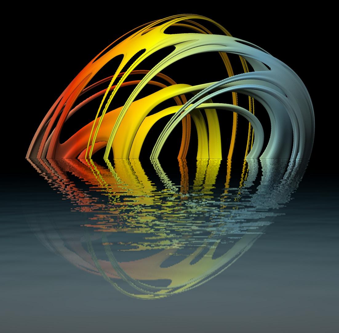 Quat-Fraktal uk-082 (fliessend + spiegelnd