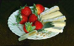 Queso  y frutillas