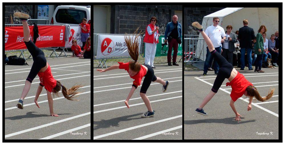 Radschlägerturnier der Kinder  - 3 Szenen einer Teilnehmerin