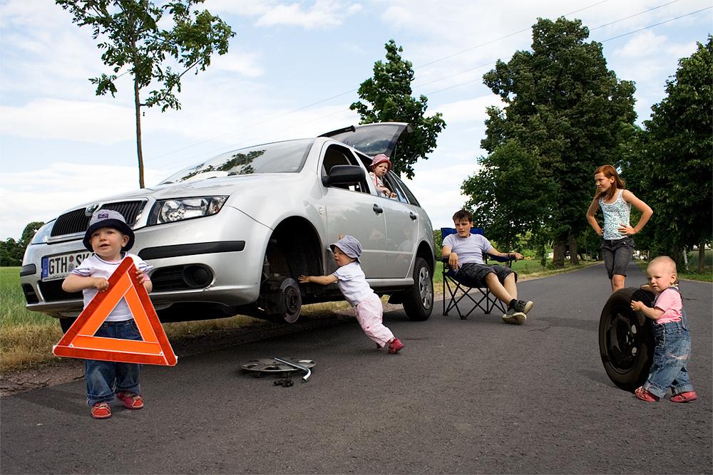 Radwechsel ohne Wagenheber von Vierlingen