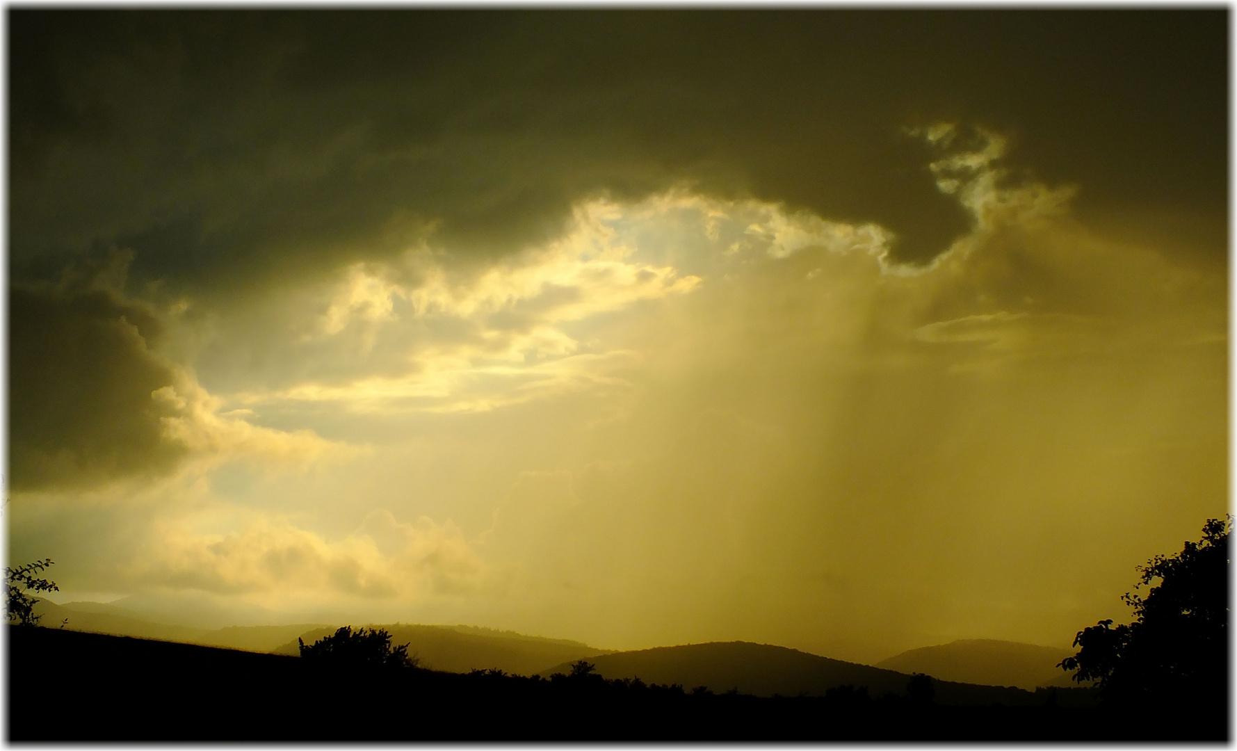 Rain over mountains.