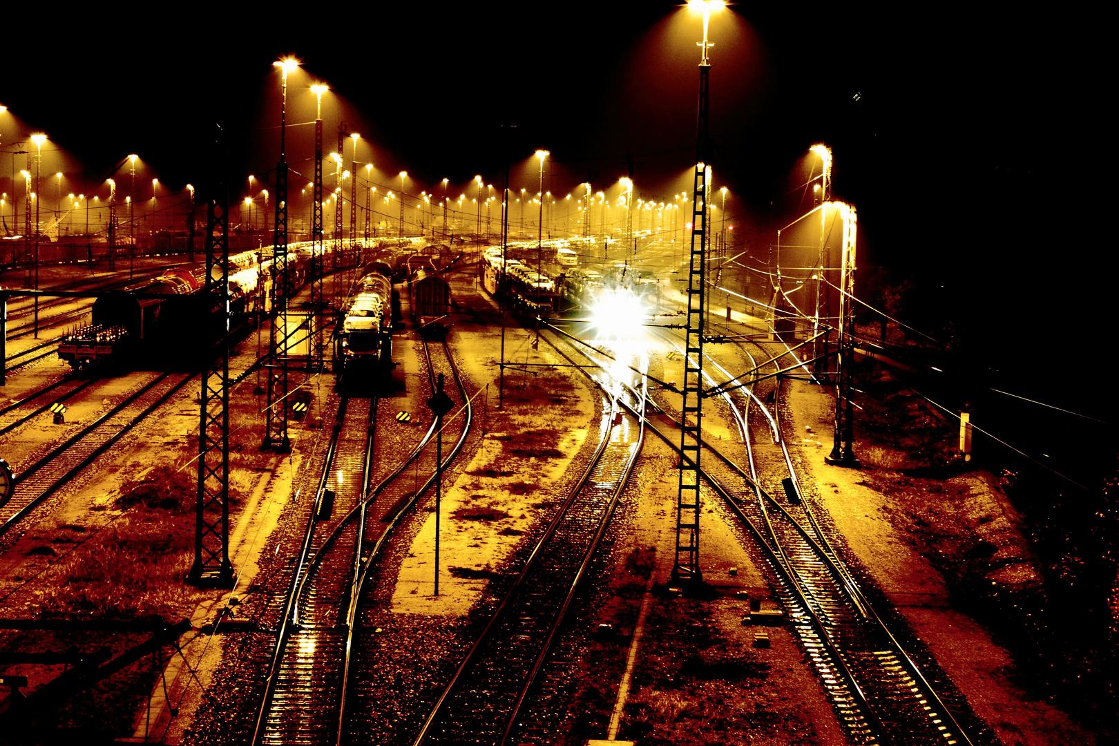 Ranggierbahnhof bei Nacht