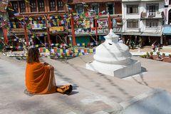 Rast am Stupa in Bodnath