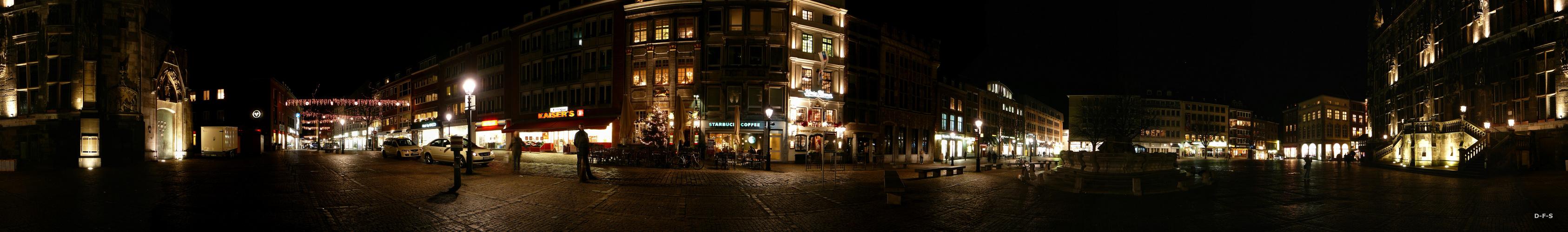 Rathausplatz Aachen bei Nacht