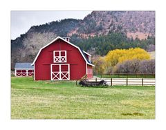 Red Barn and Snow Flakes