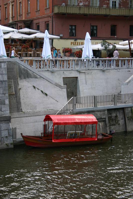 red boat in Ljubljana-SLOVENIA