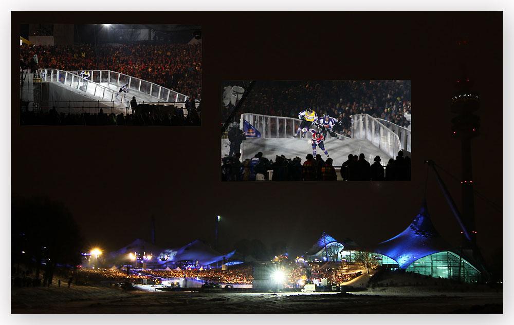 Red Bull Crashed Ice im Olympiapark München wegen Überfüllung geschlossen.