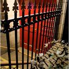 Red Door + Iron Fence