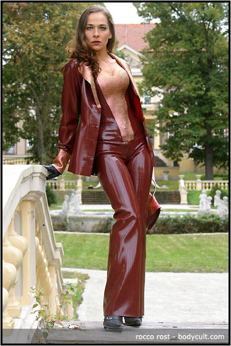 red pinstripe latex outfit
