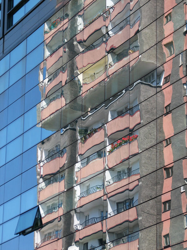 Reflection in Citibank building, Katowice, Poland