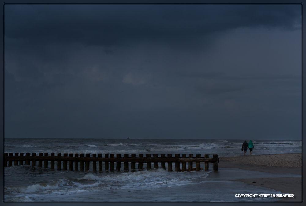 Regen am Strand von Wangerooge