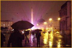 Regen und Farben - Piazza del Popolo, Rom