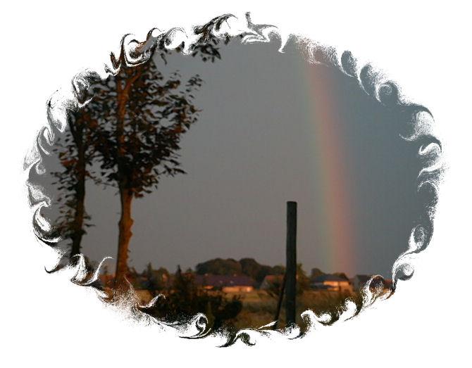regenbogen bei sonnen untergang