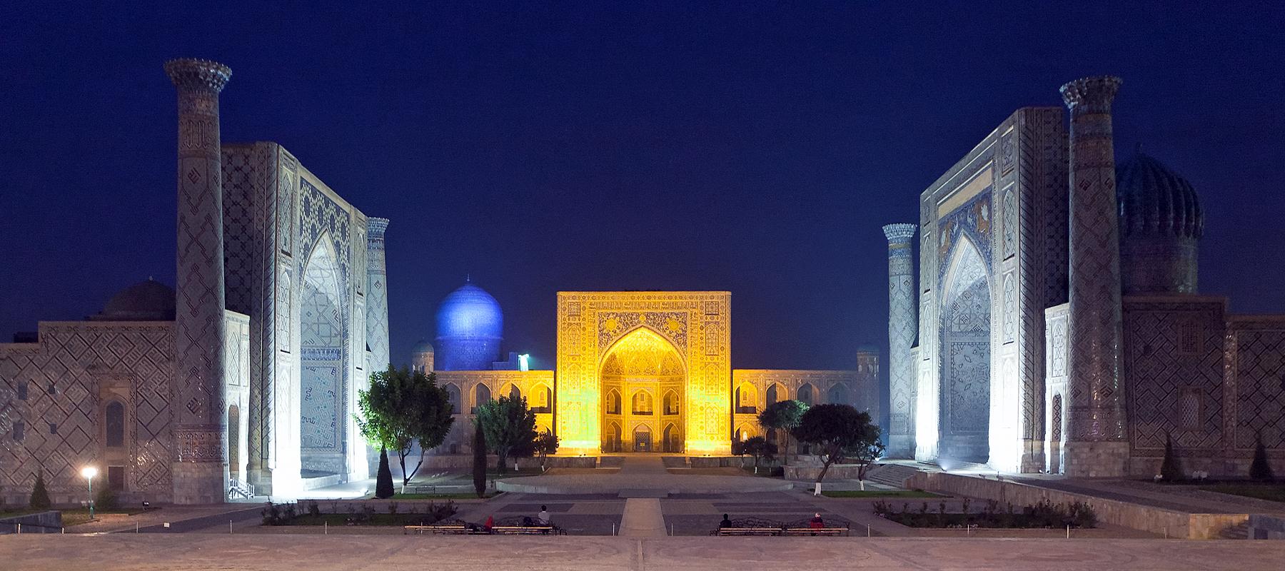 Registan in Samarkand by night