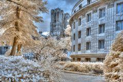 Reims Kathedrale mit Carnegie Bibliothek