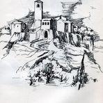 Reiseskizze aus Civita di Bagnoregio - Italien (Latium - Prov. Viterbo)