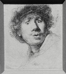 Rembrandt, Selbstbildnis mit Barett und weit geöffneten Augen