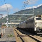 Renfe 251.022 with a military train at Mieres.