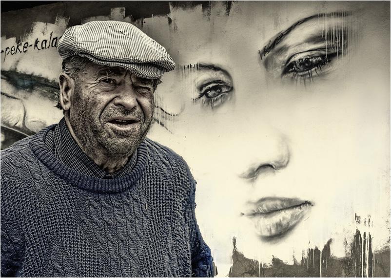 Retrato con graffiti